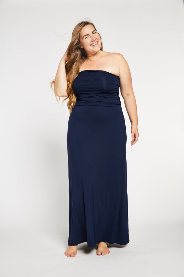 Aqua Bay Swim Co, navy maxi dress, convertible maxi dress, strapless maxi dress canada, navy maxi skirt, bamboo womens clothing canada