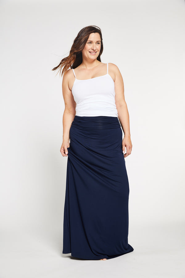 Aqua Bay Swim Co, navy maxi dress, convertible maxi dress, navy strapless maxi dress canada, navy maxi skirt canada, bamboo womens clothing