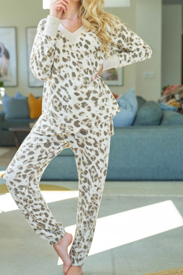 Cheetah| loungewear| set| cream