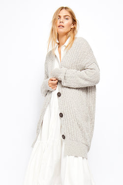 Free people|light grey| light| button up| long|oversized | cardigan