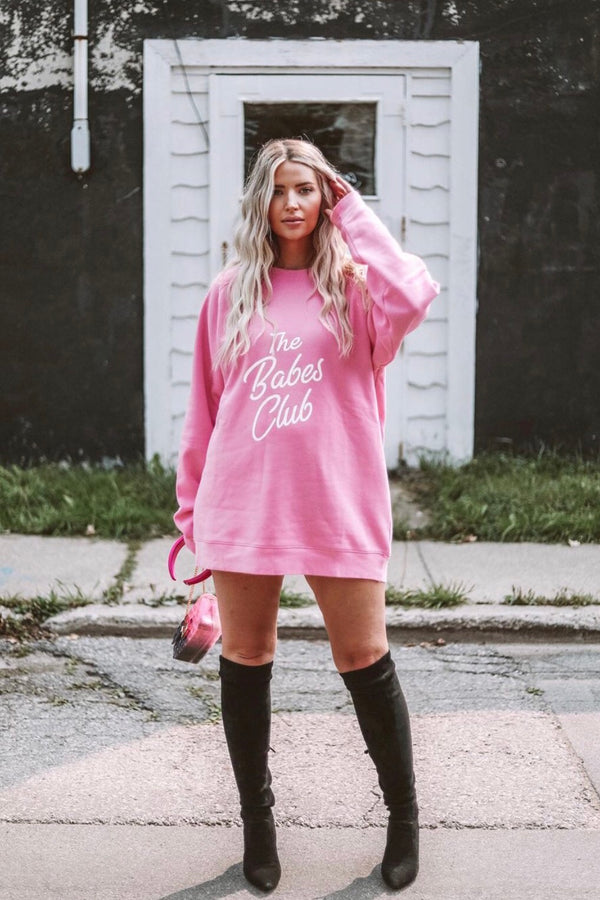 "Brunette The Label x The Birds Papaya ""Babes Club"" Big Sister Crew Neck Sweatshirt"