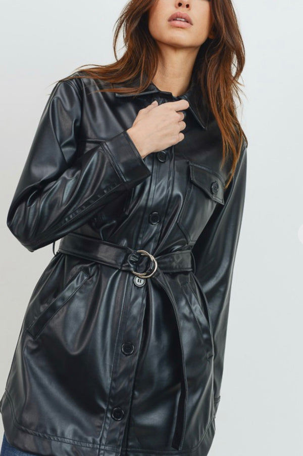 Vegan Leather Shacket with removable belt