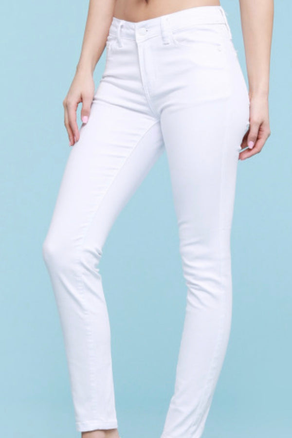 Marley White Mid-rise Skinny Jeans