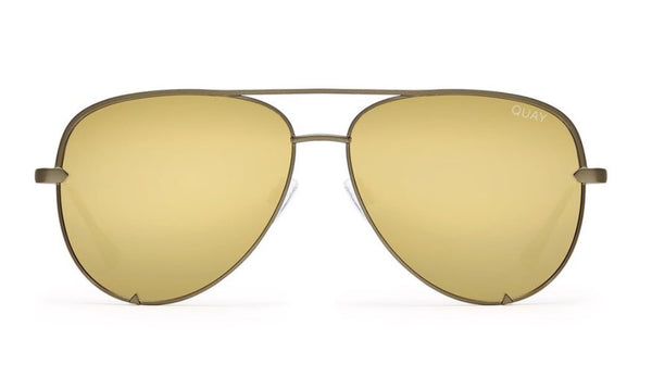Quay Australia, quality, stylish, chic, Sunglasses, high key, aviator, green, gold