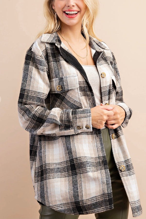 Black| Tan| Flannel| Plaid| Shirt| jacket| shacket|
