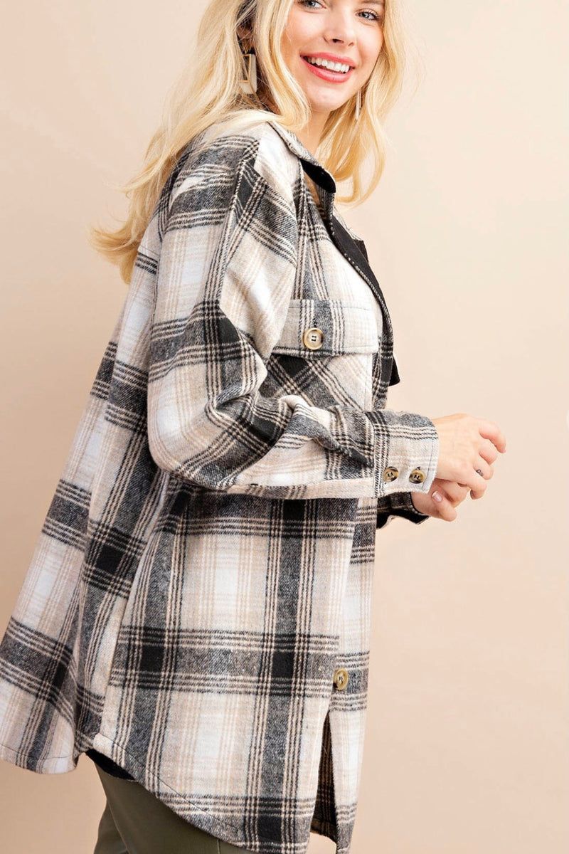 Sheila Black & Tan Plaid Shacket