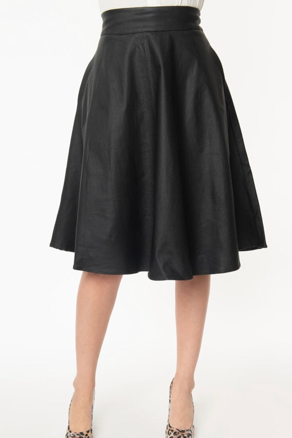 Vivian Black Vegan Leather Swing Skirt
