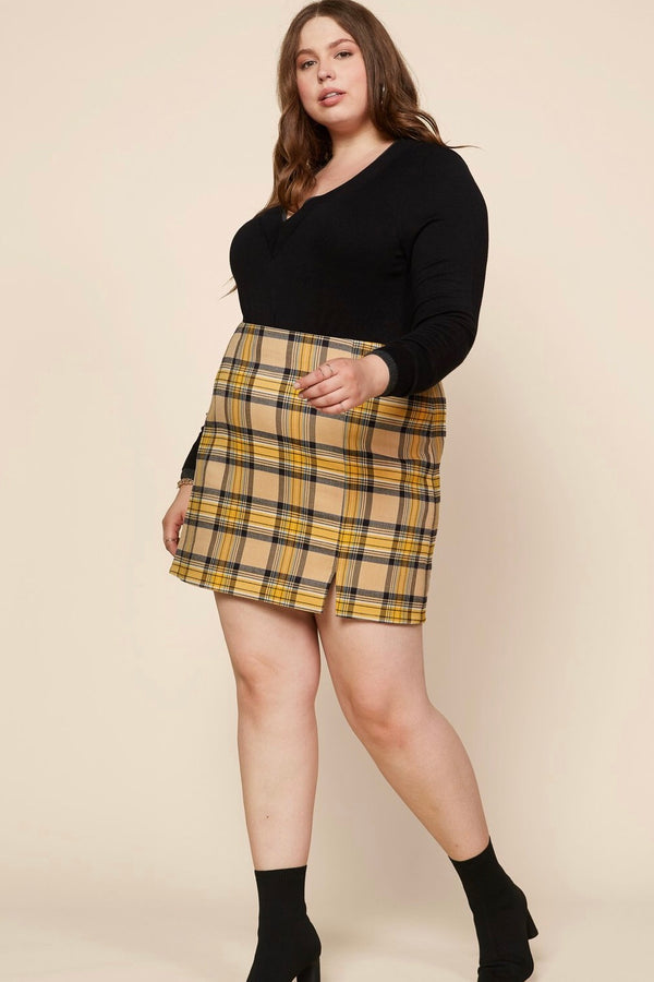 "The ""As If"" Mustard Plaid Mini Skirt"