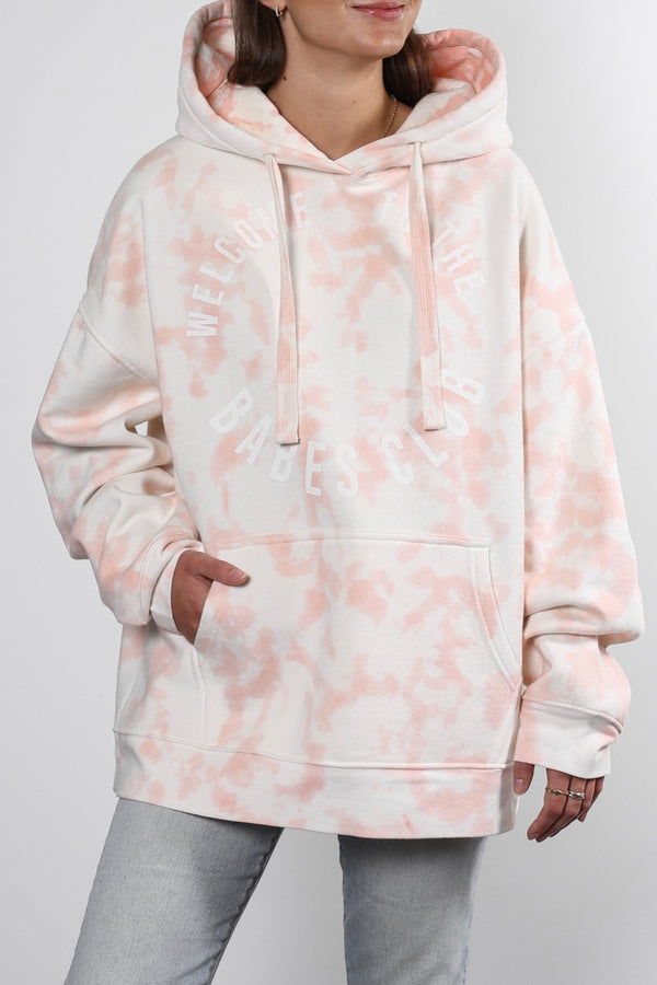 Brunette The Label Welcome to the Babes Club Big Sister Hoodie in Marble Tie Dye