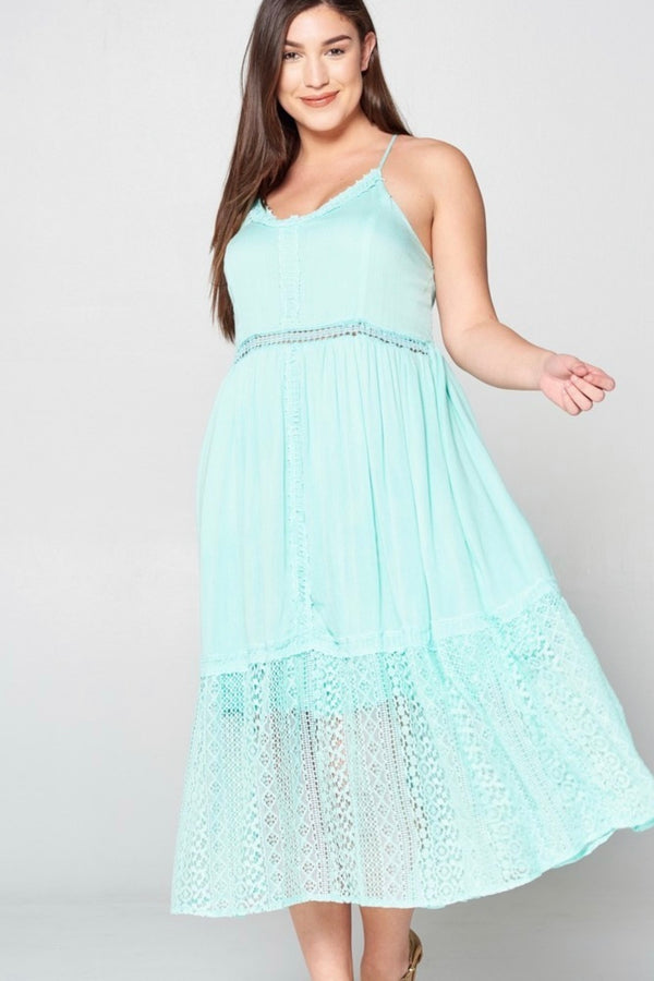Crochet|lace|midi|aqua|summer|dress