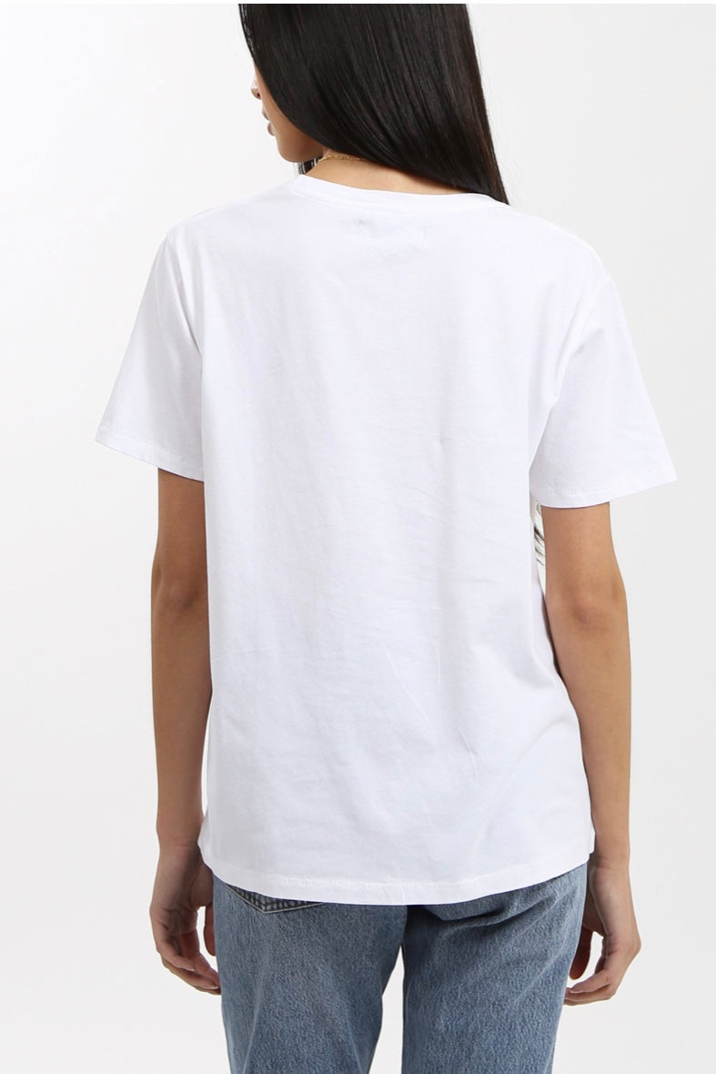 "Brunette the label the ""definition of a babe"" crew neck white tee"
