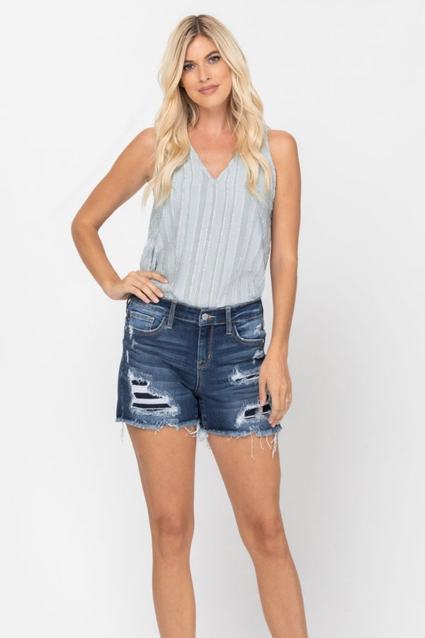 Dannie Distressed Patch Cutoff Denim Shorts