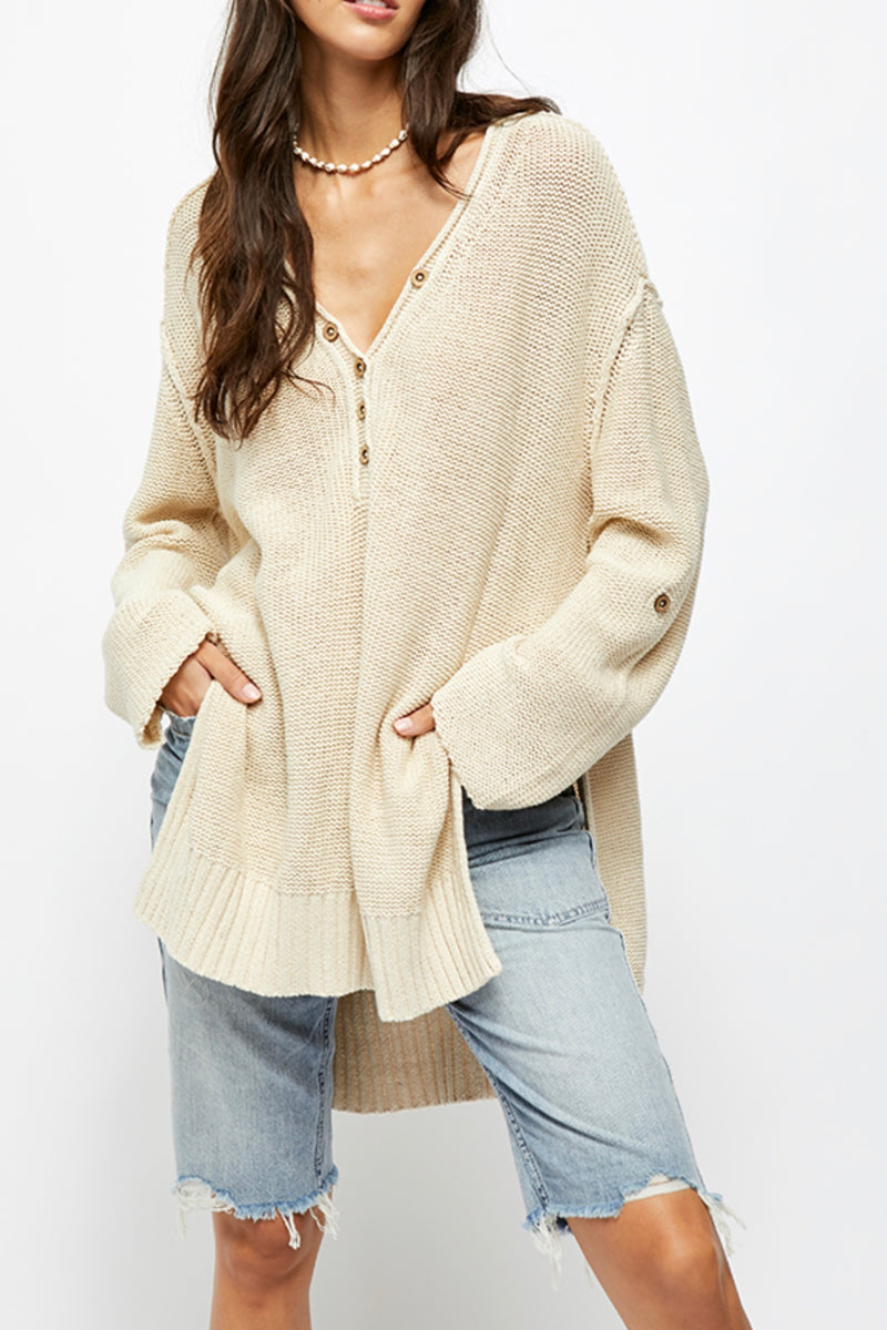 Free People| oversized| nuetral| tunic| sweater