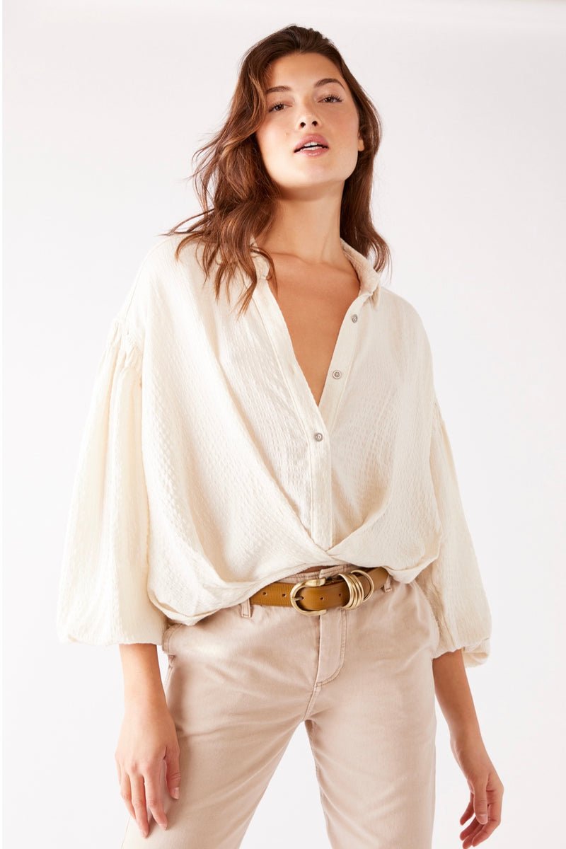 Free| people| button| down| ivory| top|