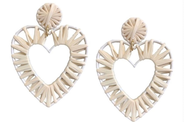 Raffia| heart| earrings|