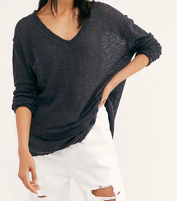 Free People| Black| Light| Airy| oversized| Long sleeve| v-neck| Long| tunic | top
