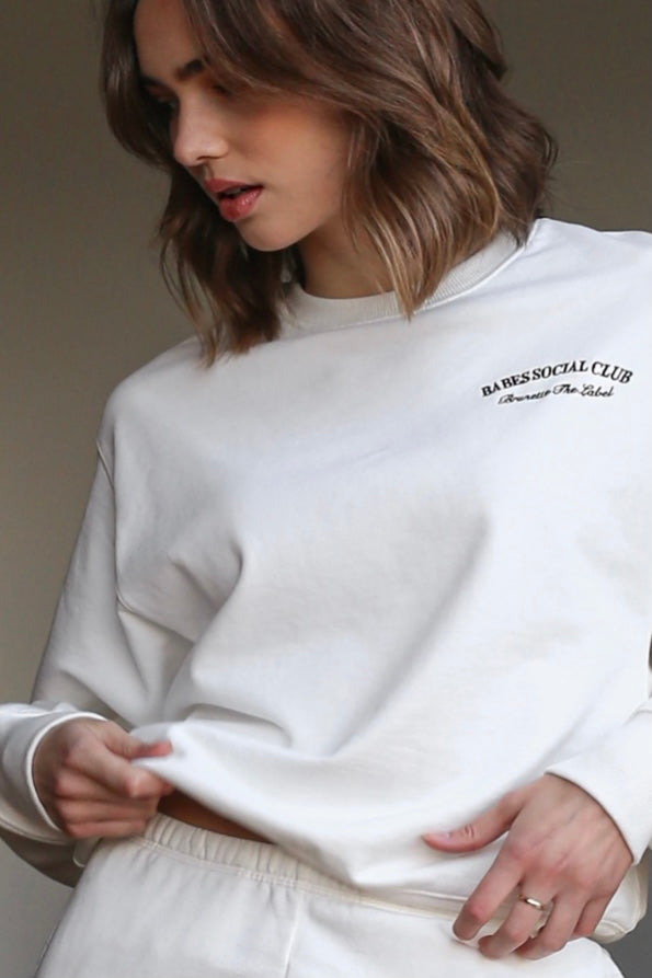 Brunette| The| label| best| friend| crew| neck| sweatshirt| cream|