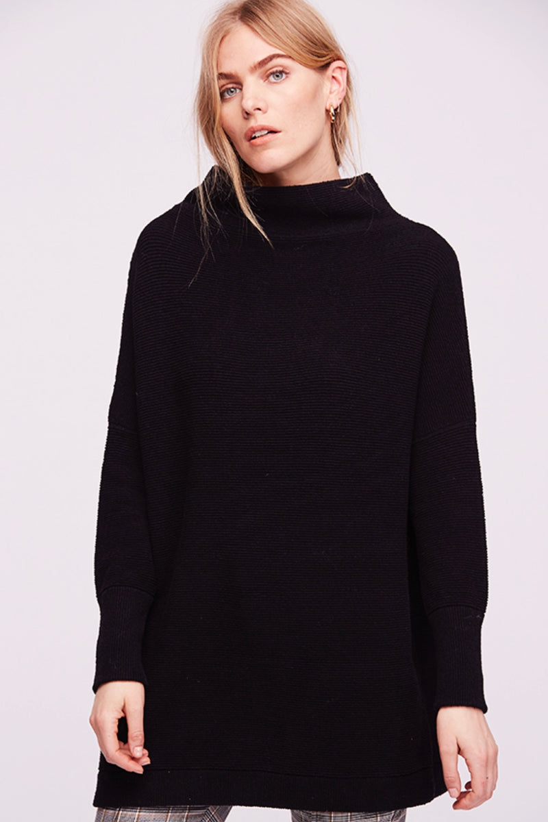 Free People Slouchy Ottoman Tunic Sweater in Black