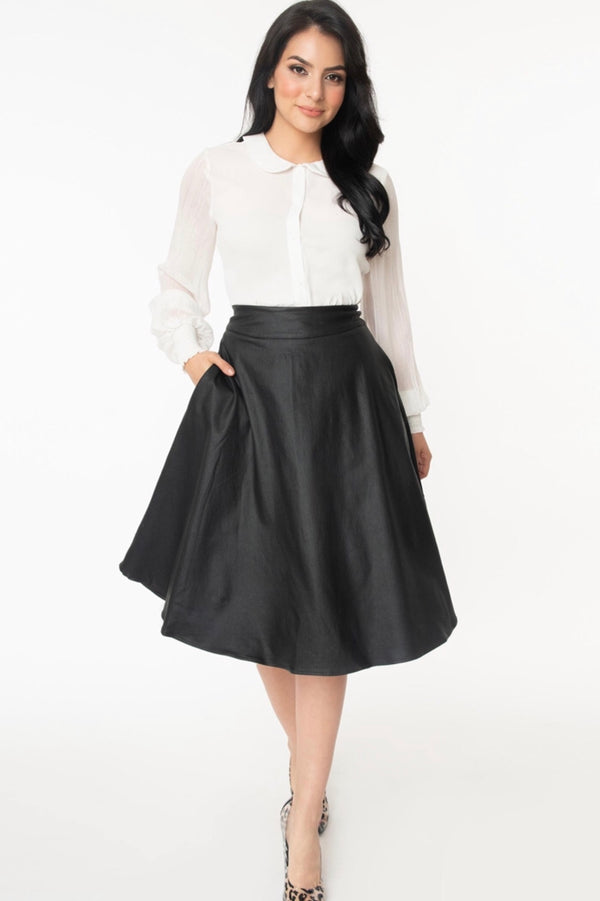 Unique| vintage| black| vegan| leather| swing| skirt|