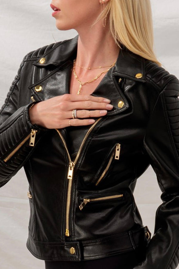 Black| vegan| leather| moto| jacket| with| gold| hardware|