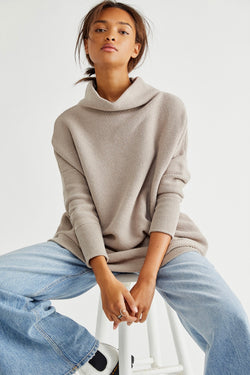 Free People Slouchy Ottoman Tunic Sweater in Oyster
