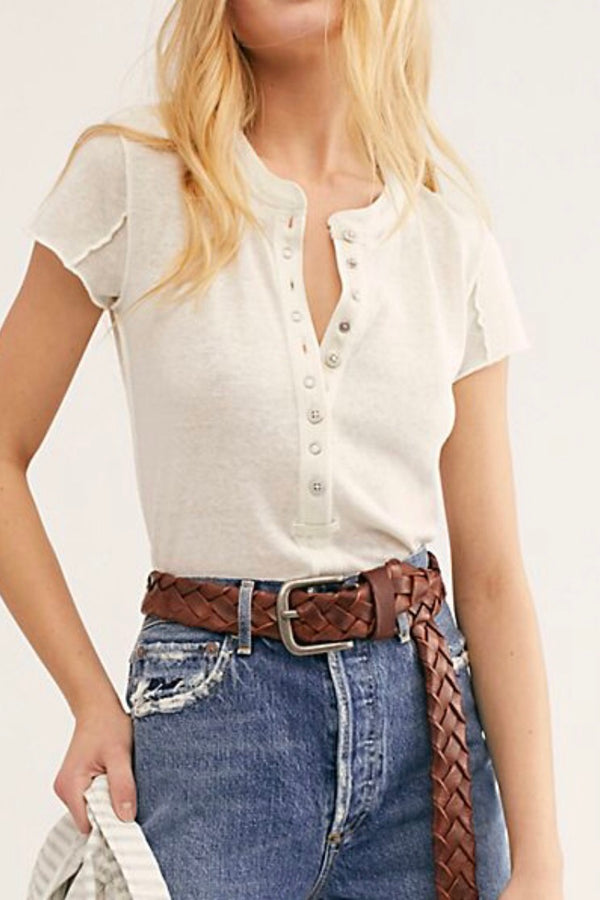 Free People| neutral| button| tee| shirt
