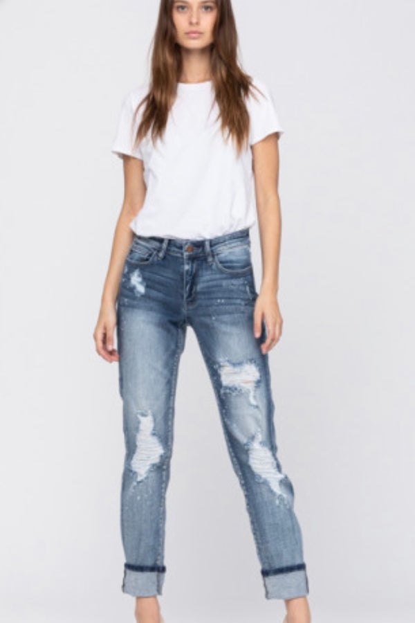 Frankie Beach Distressed Cuffed Boyfriend Jeans