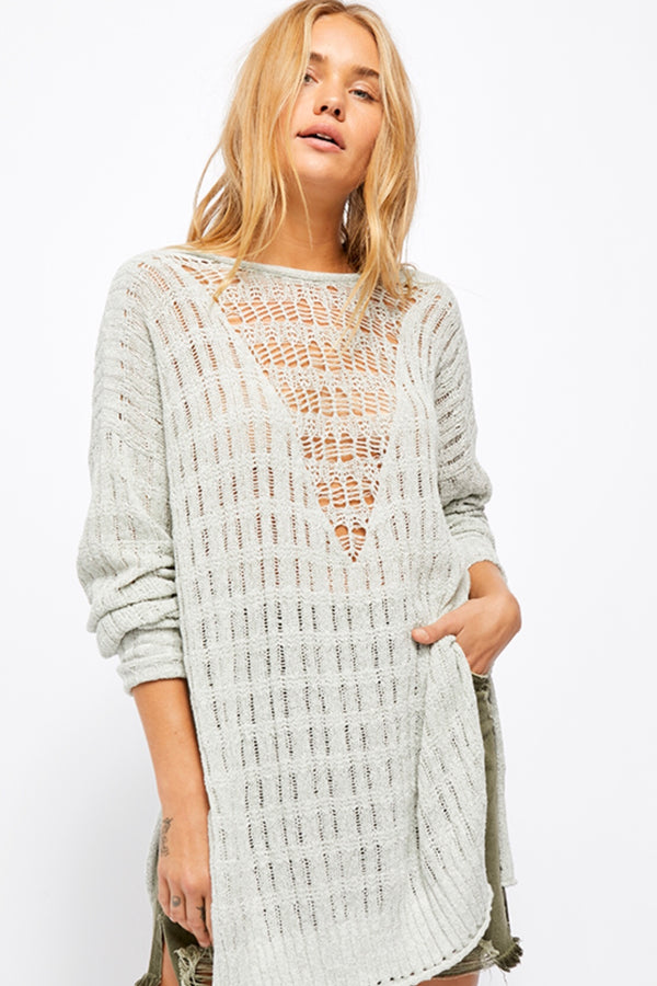 Free People| long sleeve|mint|light|airy|long|tunic|Oversized|sweater
