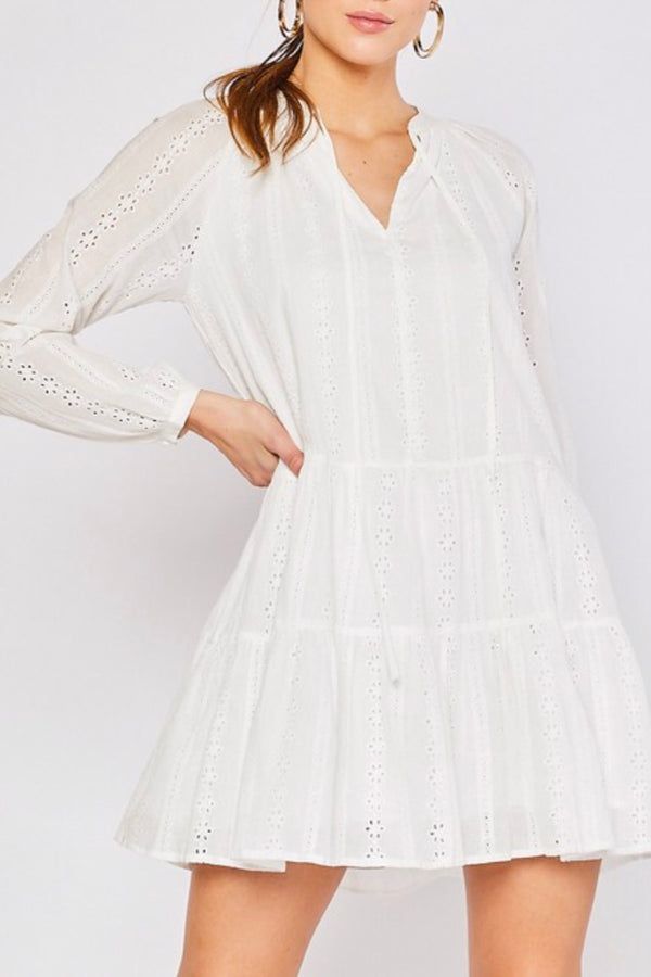 Longsleeve|tiered|lace|eyelet|white|cotton|dress