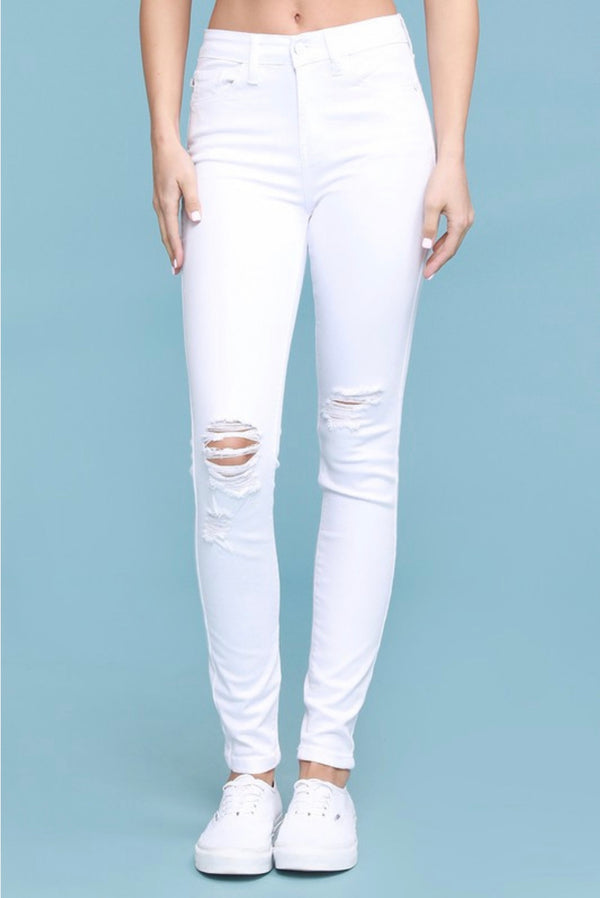 Jilly White Distressed Knee Skinny Jeans