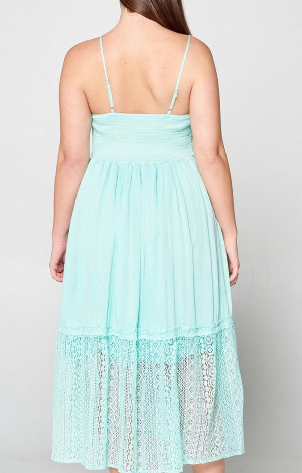 Ariana Crochet Lace Midi Summer Dress