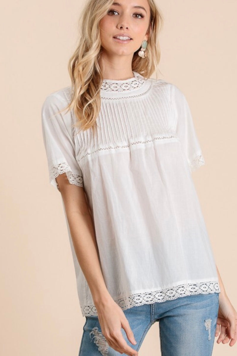Annie Mock Neck Cotton Tunic Top