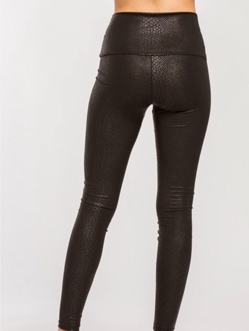 Gemma Faux Leather High Waisted Snake Skin Leggings