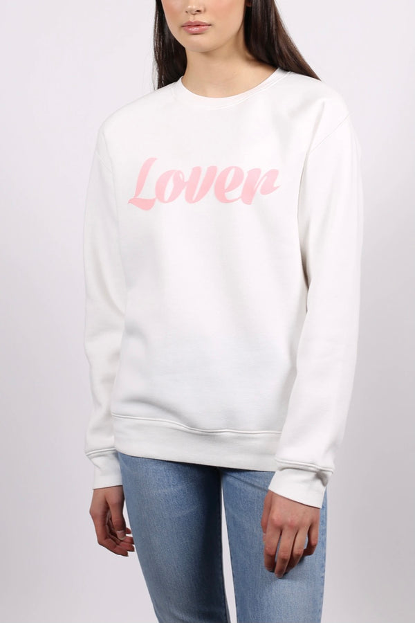 Brunette the label| lover| crew| sweatshirt| white| and pink|
