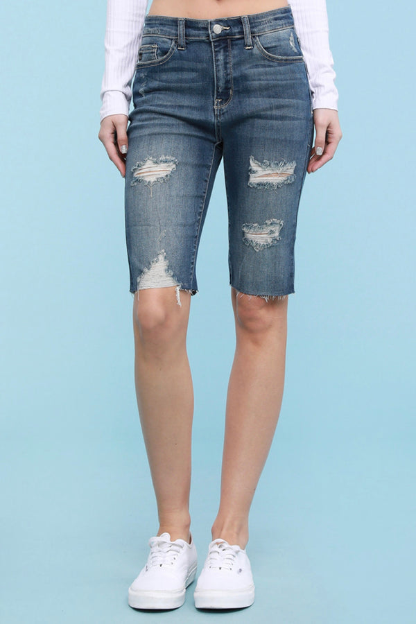 Keeley Distressed Bermuda Denim Shorts