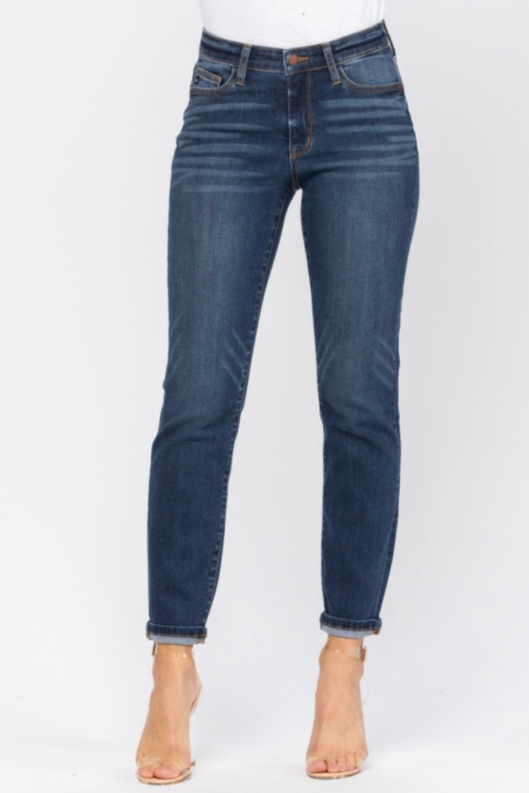 Janie Dark Wash Cuffed Boyfriend Jeans