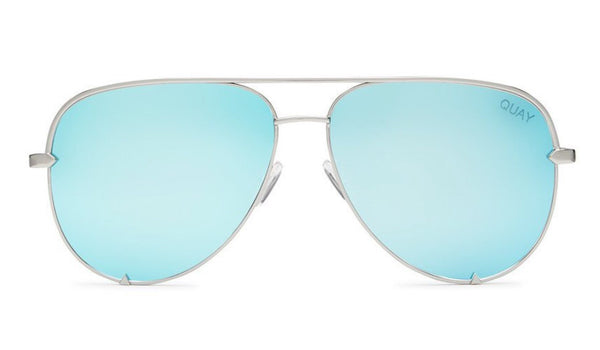 Quay Australia, quality, stylish, chic, Sunglasses, high key, aviator, silver, blue