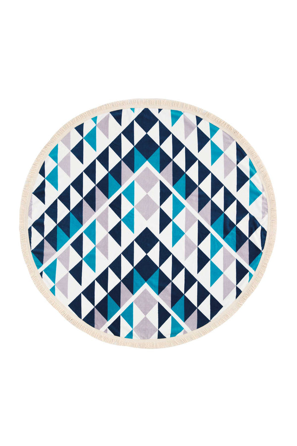 Tofino Towel, The Original round towel, cotton, The Barkley, blue, white