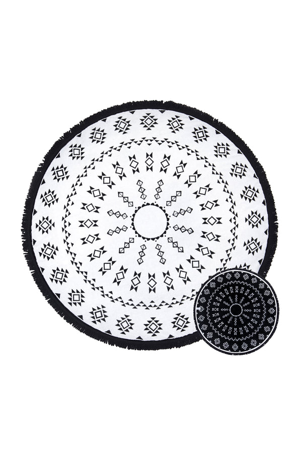 Tofino Towel, The Original round towel, cotton, The Long Beach Vol 2, black, white