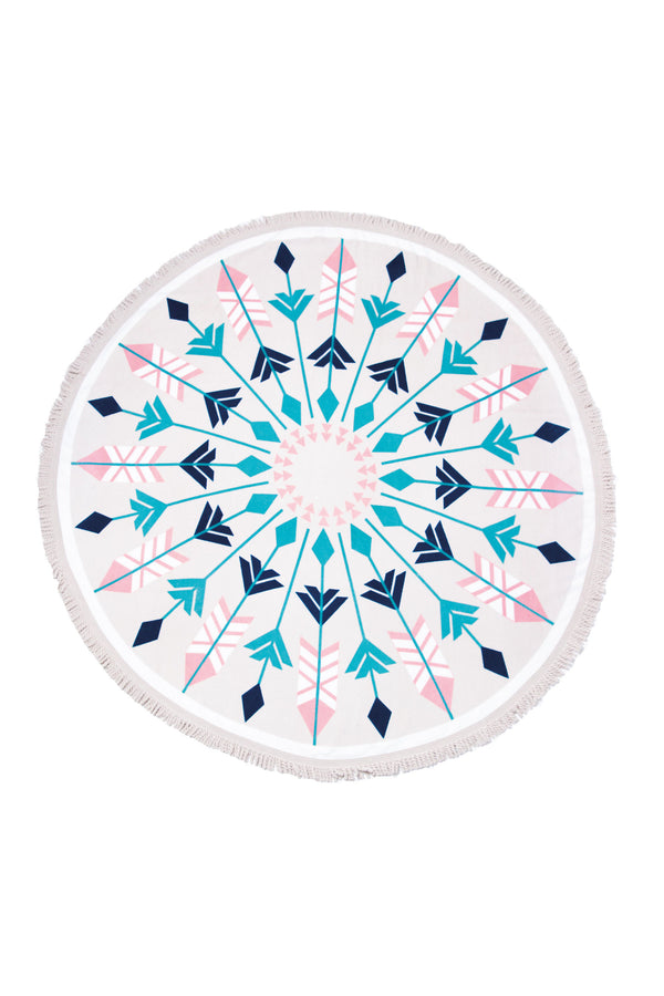 Tofino Towel, The Original round towel, cotton round towel, The Nomad, Tofino printed towel