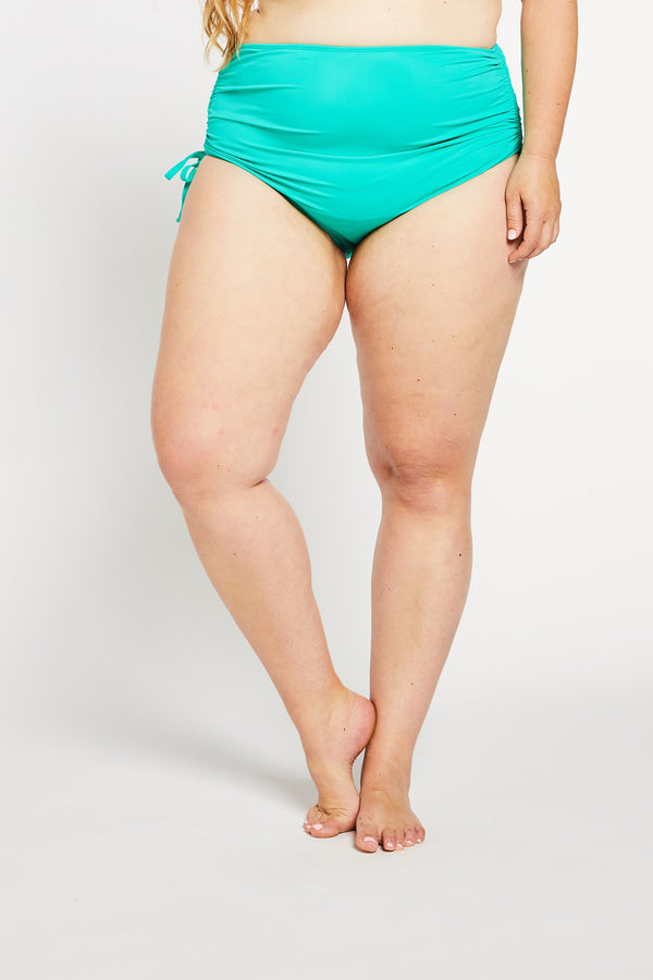 """Bottoms Up"" High Waist Bikini Bottom in Aqua"