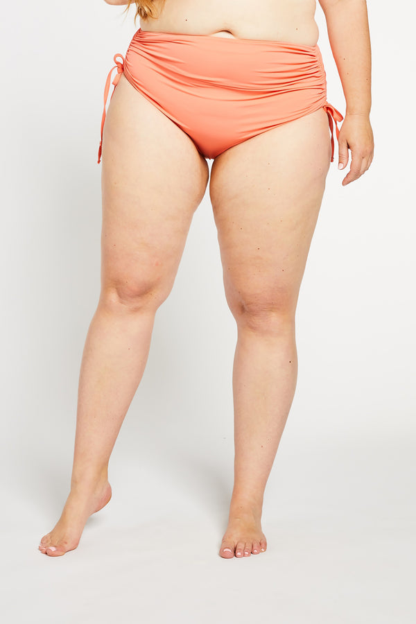 Aqua Bay Swim Co, coral bikini canada, high waisted bikini bottoms canada, high waisted bikini bottoms in coral,  runched bum bikini bottom, full coverage bikini bottom