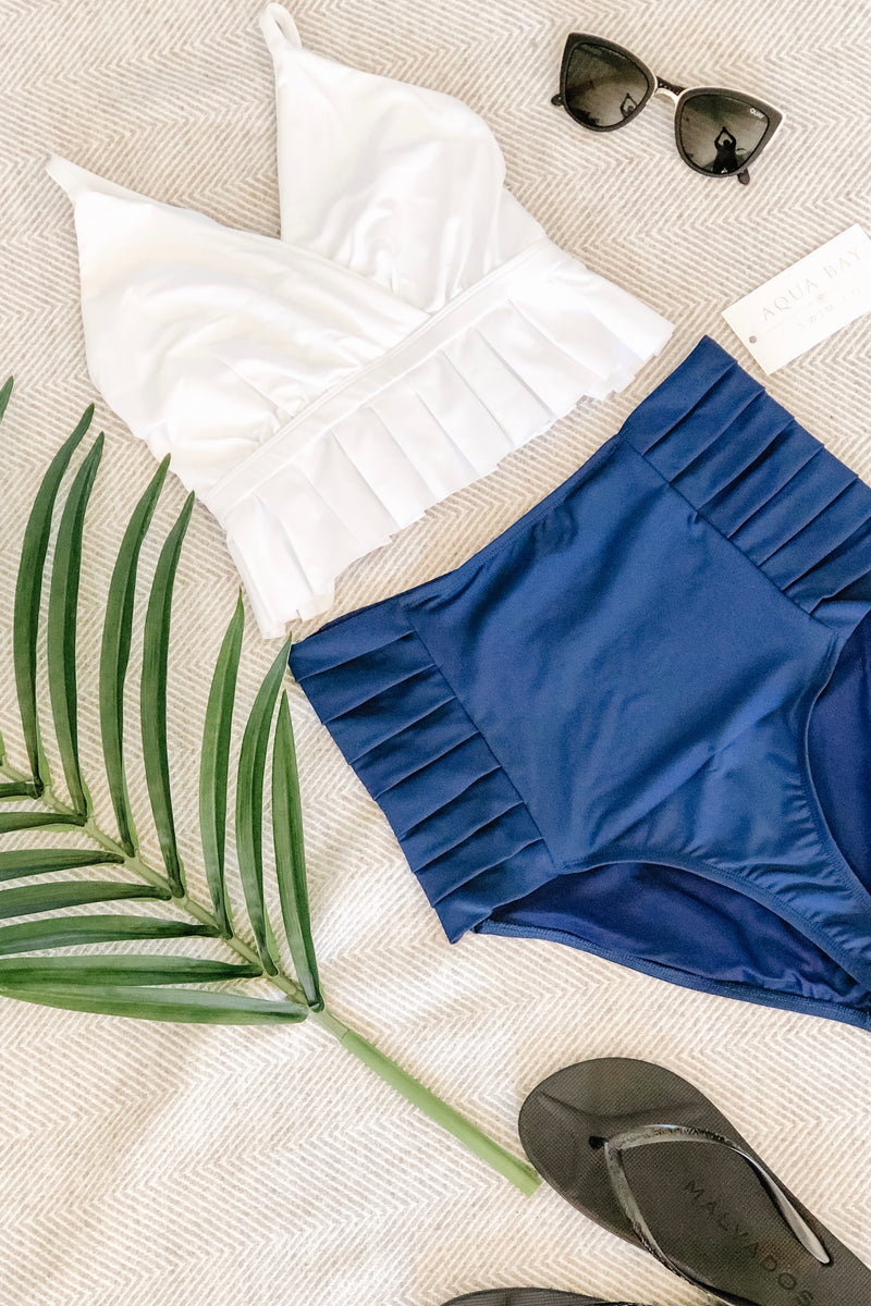 "The ""Monroe"" High Waist Pleated Bikini Bottom in Ocean Navy"