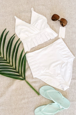 "The ""Marilyn"" Pleated Ruffle Halter Bikini Top in Coconut White"