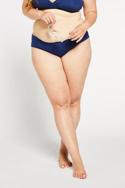 Aqua Bay Swim Co, luxury swimwear, blue bikini bottoms, pleated bikini bottoms, full coverage bikini bottoms, navy bikini bottoms