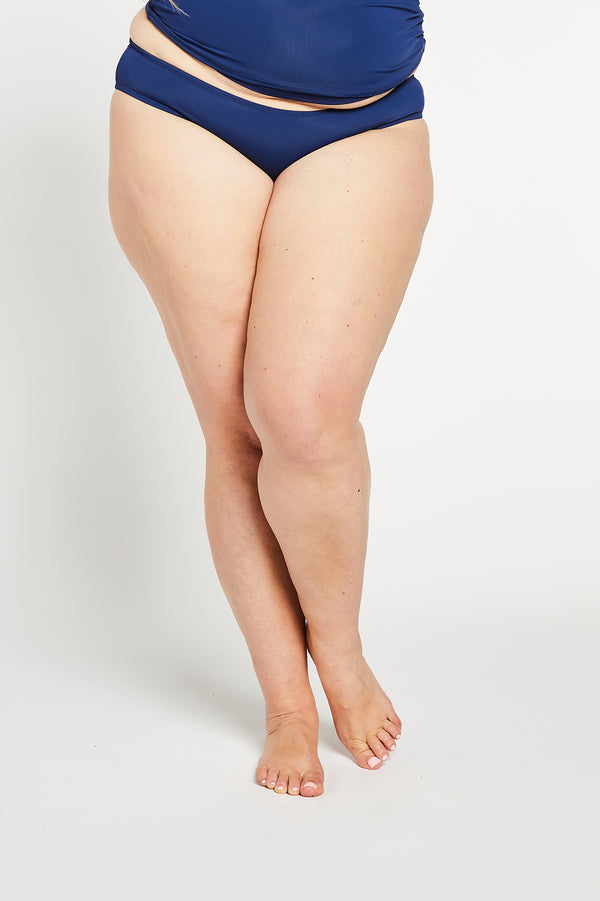 Aqua Bay Swim Co, comfortable, sporty, swimwear, bikini, bottom, ruched, cheeky, bum, Ocean, Navy