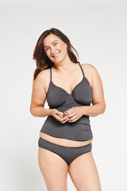 Aqua Bay Swim Co, comfortable, sporty, ruched, underwire, d cup, adjustable, back, strap, tankini, top, swimsuit, stone, grey