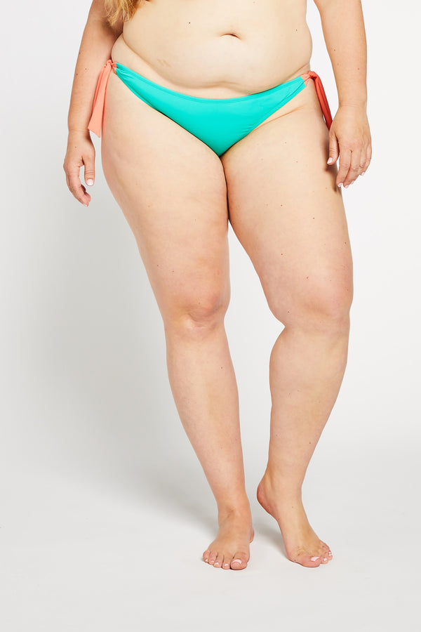Aqua Bay Swim Co, comfortable, luxury, swimwear, side, tie, bikini, bottom, ruched, cheeky, bum, aqua