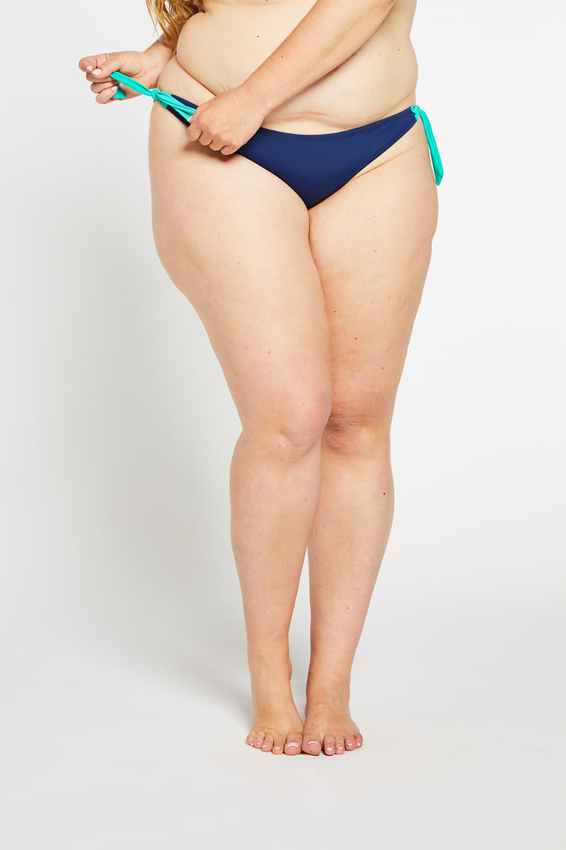 Aqua Bay Swim Co, swimwear canada, curvy bathing suits canada, side tie bikini bottoms canada, navy bikini bottoms canada