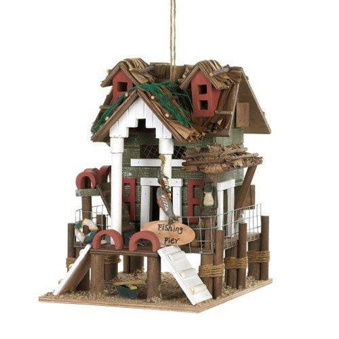 Charmingly Detailed Fishing Pier Birdhouse (pack of 1 EA) - Mile High Bazaar